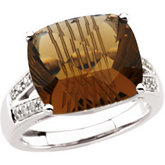 Genuine Carved Honey Quartz & Diamond Ring