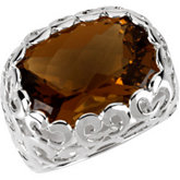 Genuine Checkerboard Honey Quartz Ring