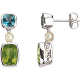 Freshwater Cultured Pearl, Genuine Swiss Blue Topaz & Peridot Earrings