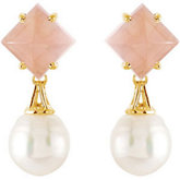 Aquarella® South Sea Cultured Pearl & Genuine Rose Quartz Earrings