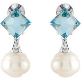 Aquarella® South Sea Cultured Pearl & Genuine Swiss Blue Topaz Earrings