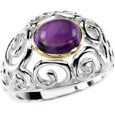 Genuine Amethyst Cabochon Ring