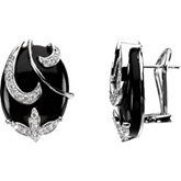 Genuine Onyx & Diamond Earrings