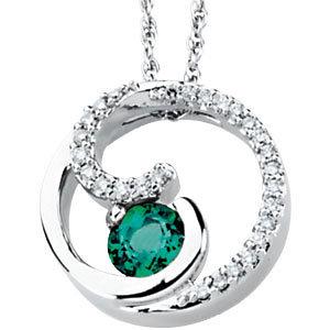 14K White Emerald & 1/4 CTW Diamond Pendant