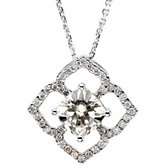 Diamond Semi-mount Pendant for Antique Cushion Stone