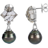 Aquarella® Tahitian Cultured Pearl & Genuine Tourmalinated Quartz Earrings