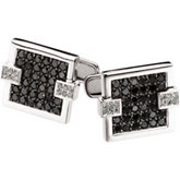 2 ct tw Black & White Diamond Cuff Links