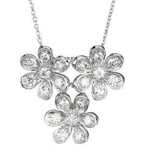 Created Moissanite Flower Necklace