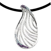 Multicolor Gemstone Sterling Silver Pendant