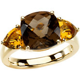 Genuine Smoky Quartz & Citrine Ring