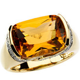 Genuine Citrine & Diamond Ring