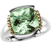 Genuine Checkerboard Green Quartz Ring