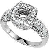 Diamond Semi-mount Ring for Antique Cushion Stone