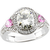 Created Moissanite, Diamond and Genuine Pink Sapphire Ring