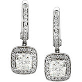 Diamond Semi-mount Earrings for Antique Cushion Stones
