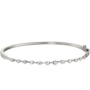 14K White 1 CTW Diamond Bangle Bracelet