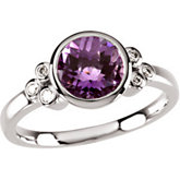 Genuine Checkerboard Amethyst & Diamond Ring