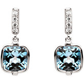 Genuine Checkerboard Swiss Blue Topaz & Diamond Earrings