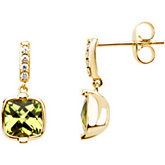 Genuine Checkerboard Peridot & Diamond Earrings