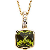 Genuine Checkerboard Peridot & Diamond Necklace