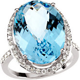 Genuine Checkerboard Sky Blue Topaz & Diamond Ring