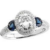 Created Moissanite, Diamond and Genuine Blue Sapphire Ring