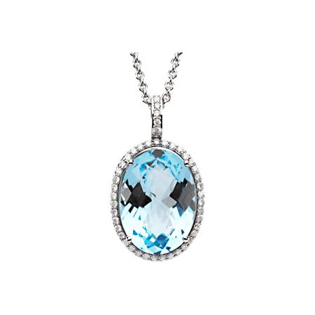 14K White 3/8 CTW Diamond & Sky Blue Topaz Necklace