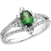 Genuine Tsavorite Garnet & Diamond Ring