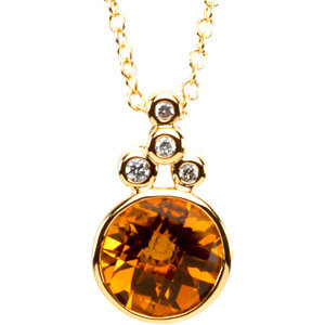 Checkerboard Citrine & Diamond Necklace