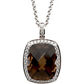 Genuine Smoky Checkerboard Quartz & Diamond Necklace