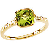 Checkerboard Peridot & Diamond Accented Ring