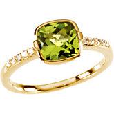 Checkerboard Peridot & Diamond Accented Ring
