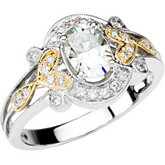 Created Moissanite & Diamond or Semi-Mount Ring