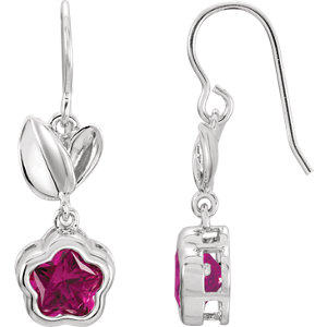Sterling Silver Fuchsia Cubic Zirconia BFlower™ Earrings with Box