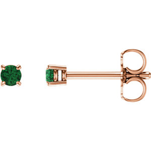 14kt Rose  .5mm Round<br> Emerald Earrings