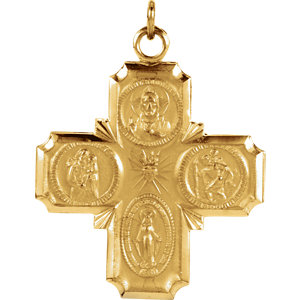 14kt Yellow 25x24mm Four-Way Cross Medal