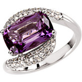 Genuine Amethyst & Diamond Ring