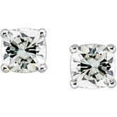 Created Moissanite Antique Square Earrings