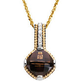 Genuine Smoky Quartz & Diamond Pendant