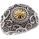 Sterling Silver & 14kt Yellow Gold Ring