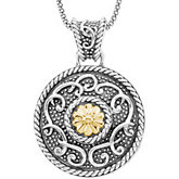 Sterling Silver & 14kt Yellow Gold Pendant on an 18