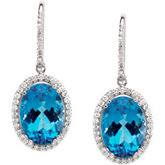 Genuine Swiss Blue Topaz & Diamond Earrings