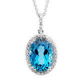 Genuine Swiss Blue Topaz & Diamond Necklace