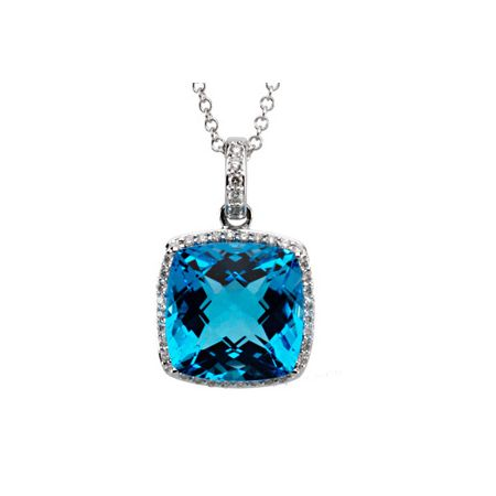 14K White Swiss Blue Topaz & 1/4 CTW Diamond Necklace
