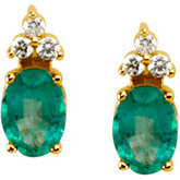 Genuine Emerald & Diamond Earrings