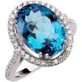 Genuine Swiss Blue Topaz & 1/2 ct tw Diamond Ring