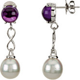 Aquarella® South Sea Cultured Pearl & Genuine Amethyst Earrings