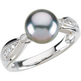 Tahitian Cultured Pearl & Diamond Ring or Semi-Mount