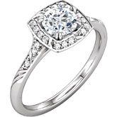Diamond Halo-Style Sculptural Design Engagement Ring or Semi-mount