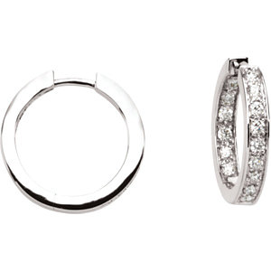 Diamond or Cubic Zirconia Inside/Outside Hoop Earrings